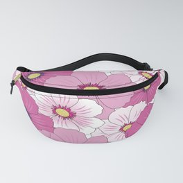 Abstract white pink yellow floral illustration Fanny Pack