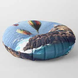 Flying Colorful Hot air Balloons over Newfoundland Floor Pillow