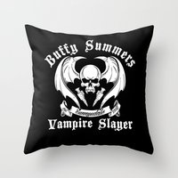 buffy Throw Pillows featuring Buffy the vampire slayer by CarloJ1956