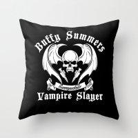 buffy the vampire slayer Throw Pillows featuring Buffy the vampire slayer by CarloJ1956
