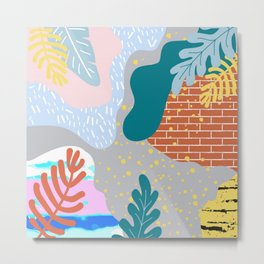 ABSTRACT TROPICAL JUNGLE PATTERN CLASHING Metal Print