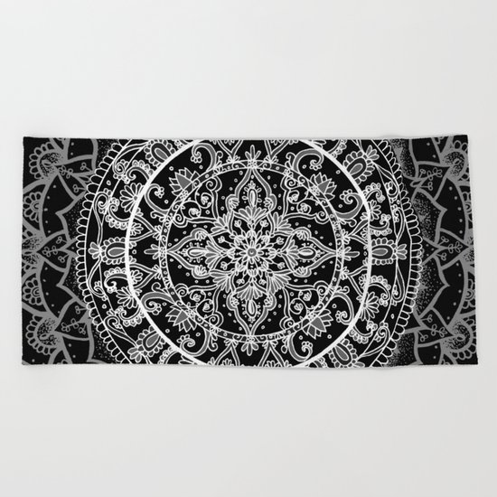 Detailed Black and White Mandala Pattern Beach Towel