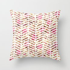 Pink Vintage Floral Girly Chevron Zig Zag Pattern Throw Pillow
