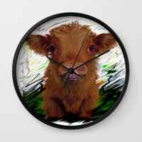 cow Wall Clocks featuring cow by Vector Art
