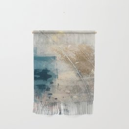 Embrace: a minimal, abstract mixed-media piece in blues and gold with a hint of pink Wall Hanging