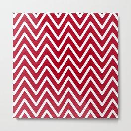 Chevron Wave Red Dark Raspberry Metal Print
