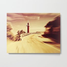 Lighthouse on the road Metal Print