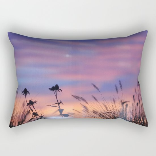 LOOK OUTSIDE - Flowers & Sunset #1 #art #society6 Rectangular Pillow