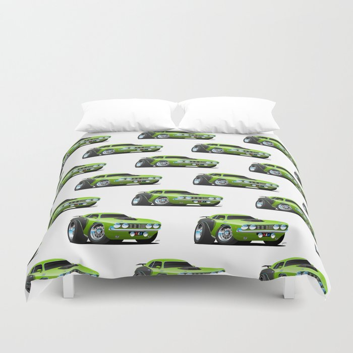 Classic Seventies Style American Muscle Car Cartoon Duvet Cover