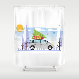 Chrismtas Design, Car with Christmas Tree On Top Shower Curtain