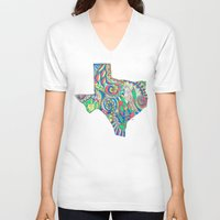 texas V-neck T-shirts featuring Texas by Laura Maxwell