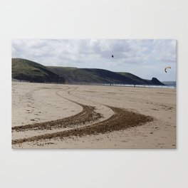 Tracks in the sand Canvas Print