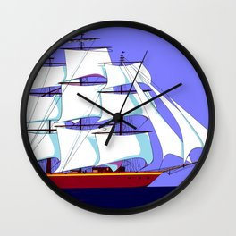 A Clipper Ship Full Sail in Still Waters Wall Clock
