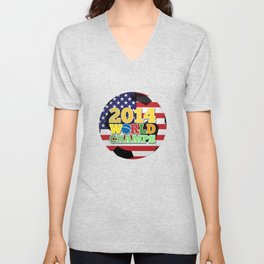 2014 World Champs Ball - USA Unisex V-Neck