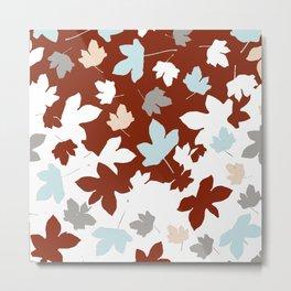 Autumn holiday mood. crimson, blue, white. fall leaves. Christmas. xmas. Metal Print