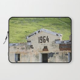 1964. Buildings of the old abandoned mercury mine Aktash. Altai Mountains, Siberia, Russia. Laptop Sleeve