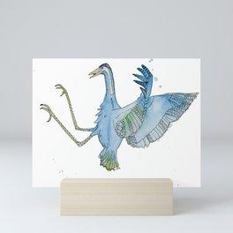 Green & Blue Kung Fu Crane Mini Art Print