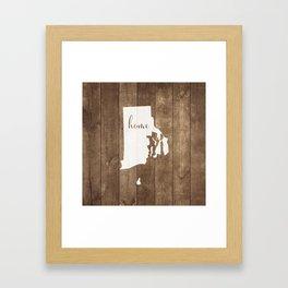 Rhode Island is Home - White on Wood Framed Art Print