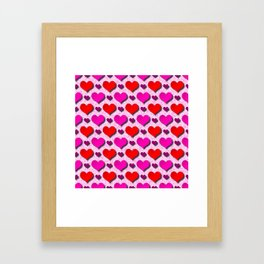 Love Hearts Pattern With Pink Fuzzy Background Framed Art Print