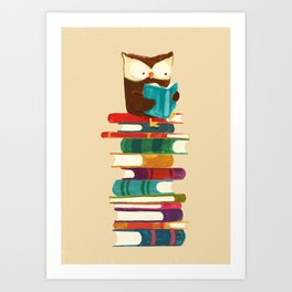 Owl Reading Rainbow Art Print