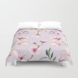 Magnolia & Birds Floral Spring Pattern Duvet Cover