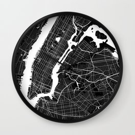 New York - Minimalist City Map Wall Clock