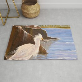 Snowy Egrets - The Expert Fisherman Rug