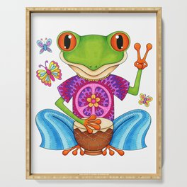 Peace Frog - Colorful Hippie Frog Art by Thaneeya McArdle Serving Tray