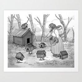 Baba Yaga and Her Chickens Art Print