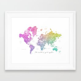 The world is your oyster world map Framed Art Print