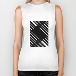 Black and white lines Biker Tank