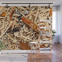 Abstract Texture Of Wooden Chips And Shavings Wall Mural