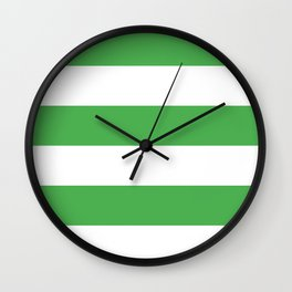 Even Horizontal Stripes, Green and White, XL Wall Clock