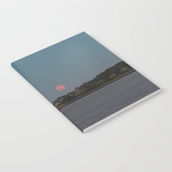 Full Strawberry Moon Rising over Rockport Notebook