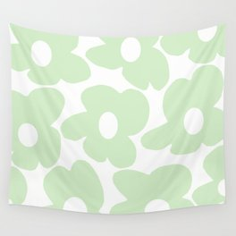 Large Baby Green Retro Flowers White Background #decor #society6 #buyart Wall Tapestry