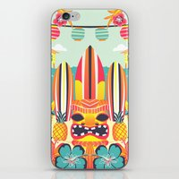 tiki iPhone & iPod Skins featuring Tiki by Claire Lordon