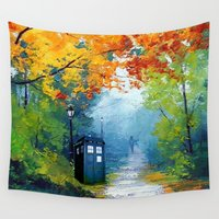 tardis Wall Tapestries featuring Tardis Painting by alexa