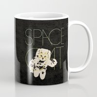 space cat Mugs featuring Space Cat by Koning