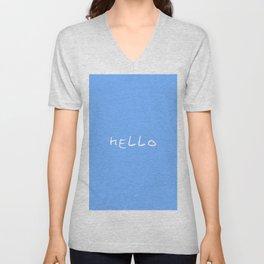 hello 1 - blue Unisex V-Neck