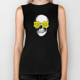 Skull and Roses | Grey and Yellow Biker Tank