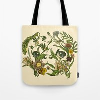 botanical Tote Bags featuring Botanical Pug by Huebucket