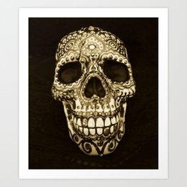 Dia de los Muertos Painted Skull print, antique sepia Art Print