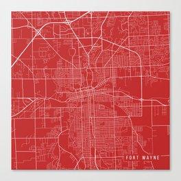 Fort Wayne Map, USA - Red Canvas Print