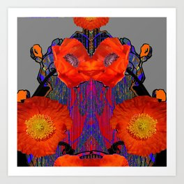 Modern Art Nouveau Fiery Orange Poppy Flowers Purple Art Art Print