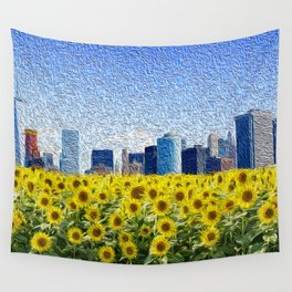 New York City Skyline Oil Paint View from Sunflower Field Wall Tapestry