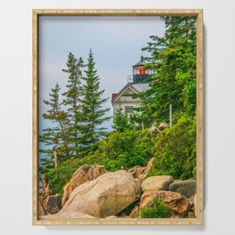 Bass Harbor Lighthouse Through the Forest Print Serving Tray