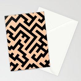Black and Deep Peach Orange Diagonal Labyrinth Stationery Cards