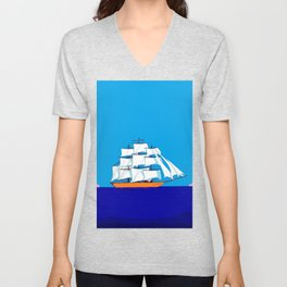 A Clipper Ship at Sunset, Pink clouds and Sun, Nautical Scene Unisex V-Neck
