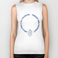 amy pond Biker Tanks featuring Doctor Who pals: the 10th Doctor & Amy Pond (white version) by logoloco