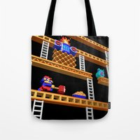 donkey kong Tote Bags featuring Inside Donkey Kong stage 2 by Metin Seven